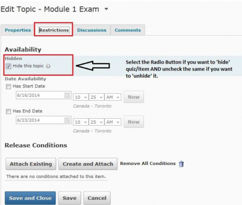 D2L Hide this topic to hide a quiz