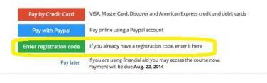 ERM Enter Registration Code to access course
