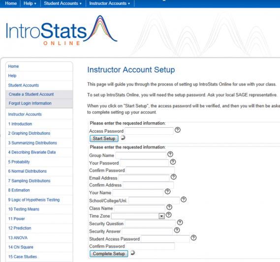 IntroStats Online account setup