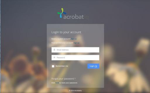 Acrobatiq log-in screen_Login to your account