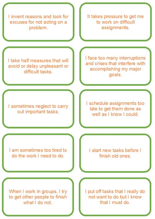 procrastination statements in image