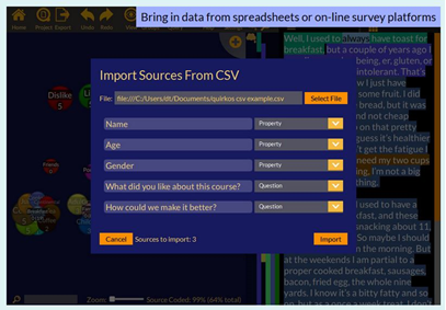 screenshot: Importing sources from CSV