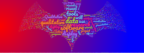 Word cloud in the shape of a bat