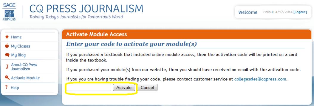 CQ Press Journalism Activate Module Access