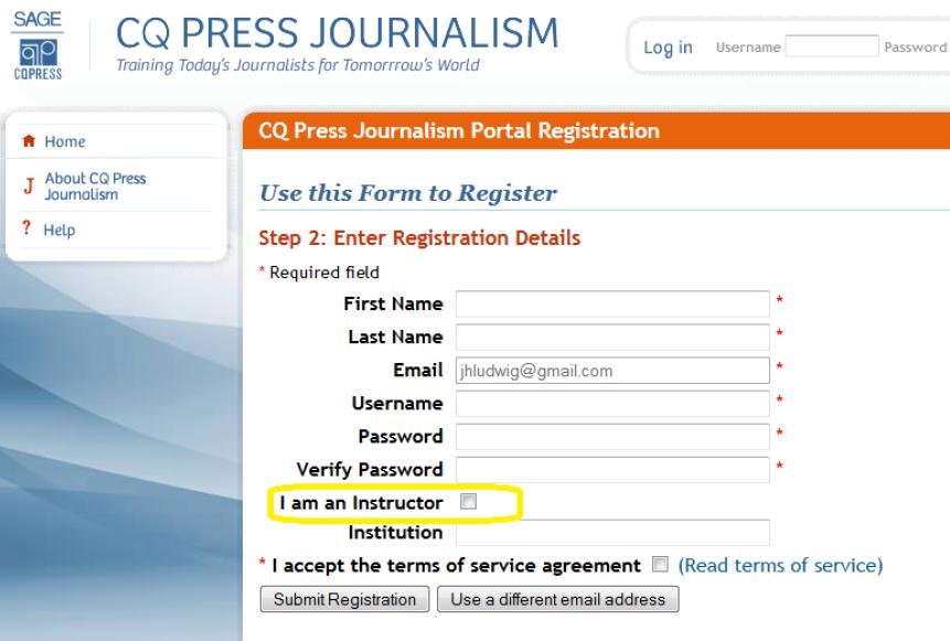 CQPress Journalism Portal Registration