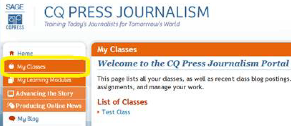 CQPress Journalism My Classes in the left navigation.