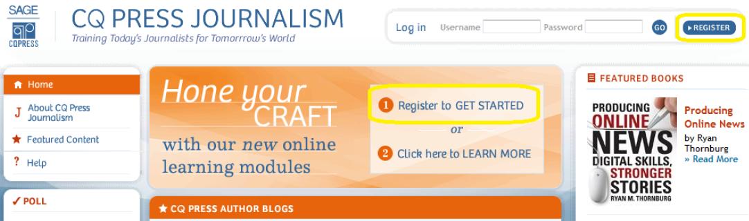 CQPress Journalism Register to Get Started
