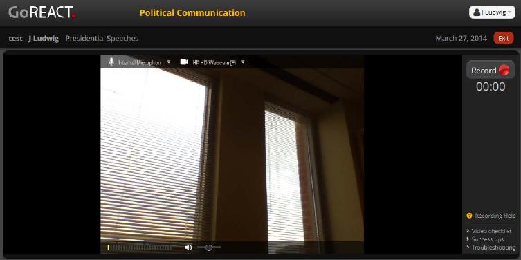 GoReact recording screen