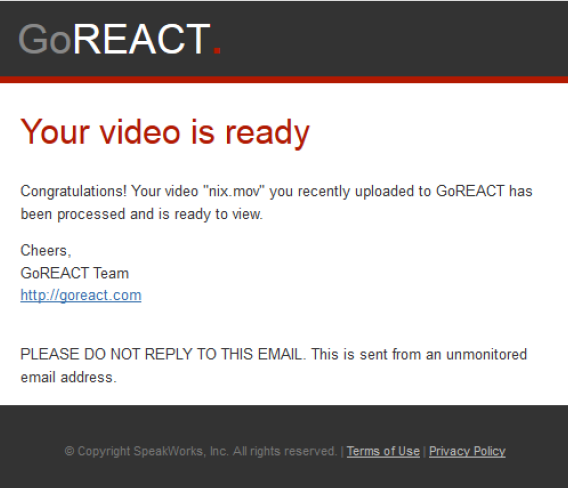 GoReact email confirmation