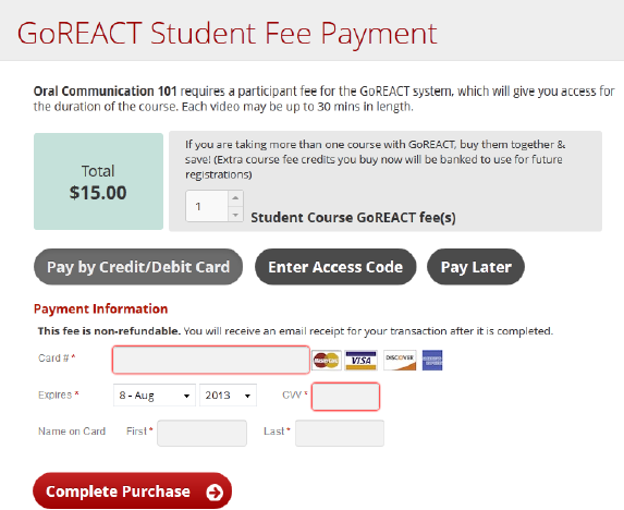 GoReact Student Fee Payment