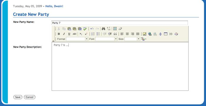 West Europa Create New Party Text Editor