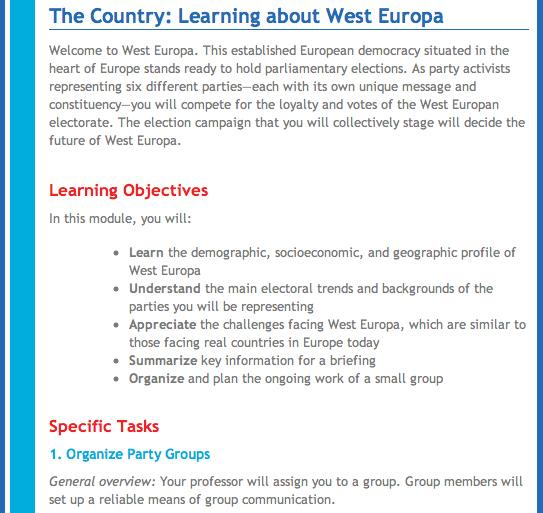 The Country: Learning about West Europa Module