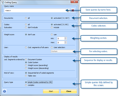 Figure 13.2.1 – Coding Query Dialog