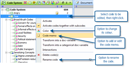 Figure 7.1.3 – Context menu on a code name in the Code System