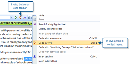 Figure 7.3.1 – In vivo code option in context menu
