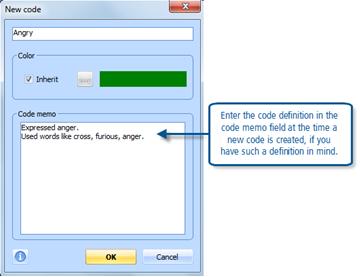 Figure 7.7.1 – Code creation dialog