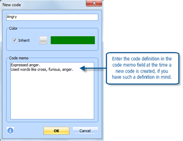 Figure 7.7.1 – Code creation dialog