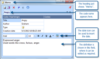 Figure 7.7.2 – Editing a code memo