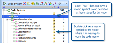 Figure 7.7.3 – Memos in the Code System
