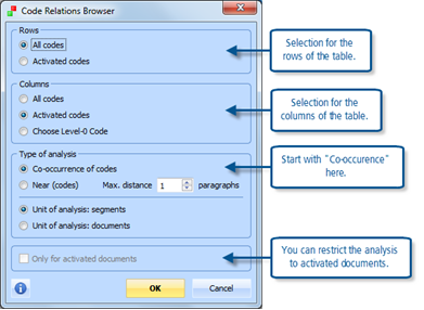 Figure 13.3.6 – Options for the Code Relations Browser