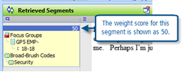 Figure 7.12.4 – Weight score in Retrieved Segments window