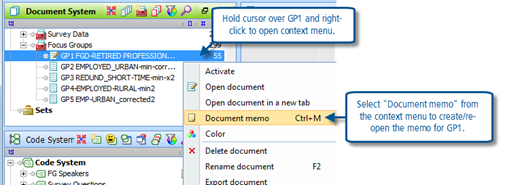 Figure 6.1.1 – Opening a document memo