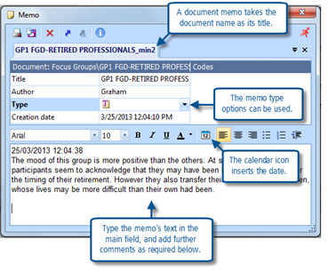 Figure 6.1.2 – Adding text to a document memo
