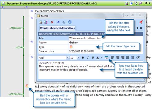 Figure 6.1.4 – Adding a memo inside a document