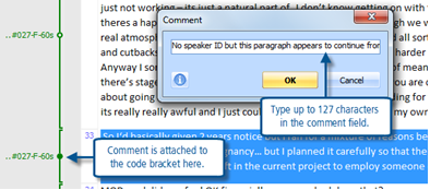 Figure 6.1.6 – Adding a comment to a coded segment