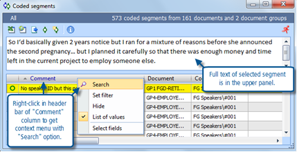 Figure 6.1.7 – Overview of coded segments display