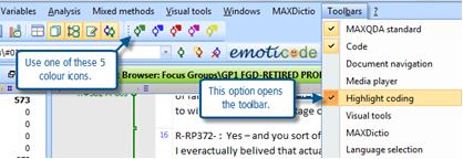 Figure 6.3.1 – Highlight coding toolbar