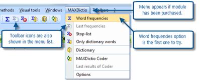Figure 6.5.1 – MAXDictio menu/toolbar