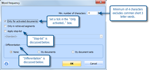 Figure 6.5.2 – Word frequency dialog screen