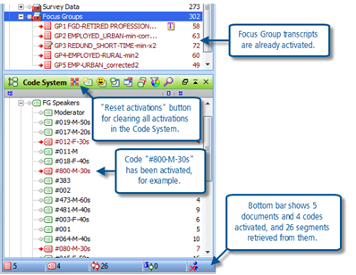 Figure 6.6.3 – Activating selected codes