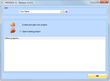 Figure 5.2.1 – Starting the program for the first time