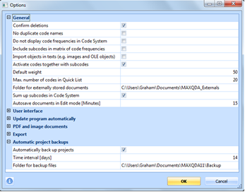 Figure 5.2.2 – Project Options Window