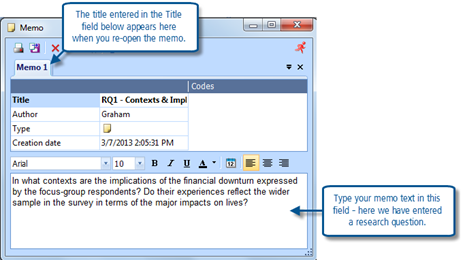 Figure 5.4.2 – Using a free memo for a Research Question