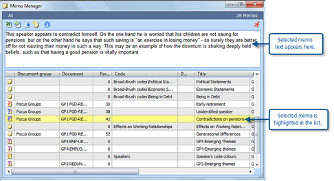 Figure 5.4.4 – The Memo Manager