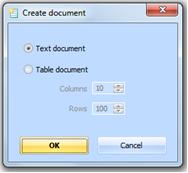 Figure 5.5.1 – Create a new document dialog