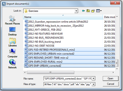 Figure 5.8.1 – Import Document(s) dialog