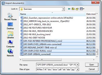 Figure 5.8.1 – Import Document(s) dialog
