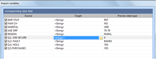 Figure 5.8.3 – Editing variable types during survey data import
