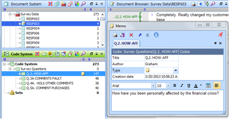 Figure 5.8.9 – Using a code memo to store survey question wording