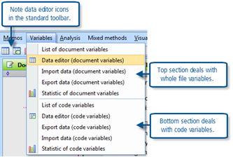 Figure 12.1.1 – Variables menu