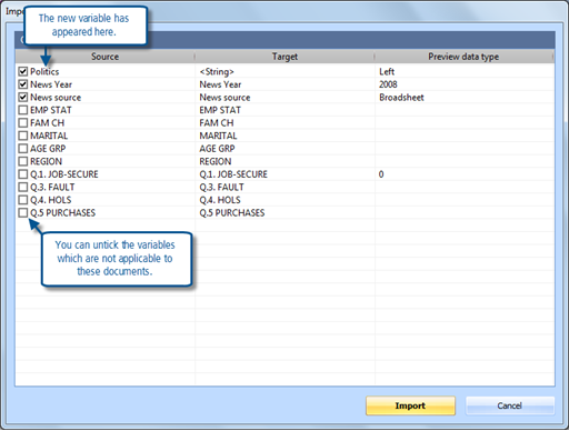 Figure 12.2.1 – Selecting variables to import
