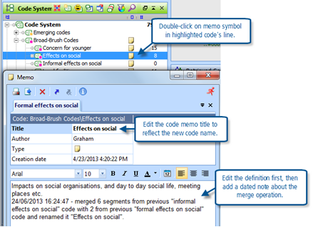 Figure 9.4.3 – Edit the code memo for the merged code
