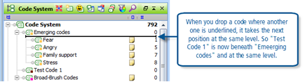 Figure 9.5.1 – Using drag & drop to move codes around the Code System