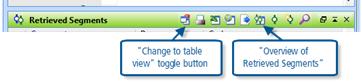 Figure 8.1.4 – Icons in Retrieved Segments toolbar