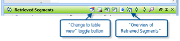 Figure 8.1.4 – Icons in Retrieved Segments toolbar