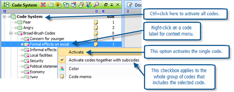 Figure 8.1.5 – Activation options in the Code System window